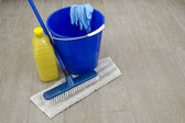 A bucket with brush, cleanup and gloves — Stock Photo
