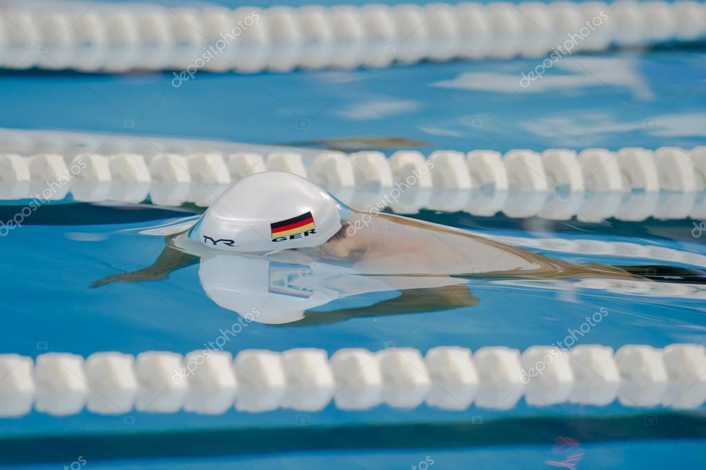 MILAN, JUNE 29 : Benjamin Starke ( Germany) performs the 100 mt Butterfly in Aspria International Swimming Cup 2011, Night Event  on June 29, 2011 in Milan, Italy — Stock Photo #14608899