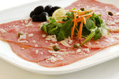 White meat Carpaccio with Parmesan Cheese — Stock Photo