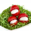 Green salad, tomatoes and mozzarella — Stock Photo