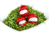 Green salad, tomatoes and mozzarella — Stok fotoğraf