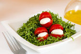 Tomato, green slad, oil and italian mozzarella — Stock Photo