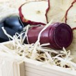 Bottle of old red wine in gift wooden box — Foto de Stock