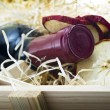 Bottle of old red wine in gift wooden box — Stock Photo