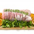 Roast of veal with rosemary and orange slices — Stock Photo