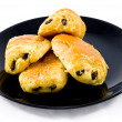 Fresh and tasty buns with raisins — Stock Photo