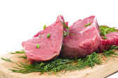 Raw beef with green chinese onion — Stock Photo