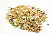 Dried legumes and cereals on a white background — Photo