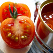 Canned tomatoes  and fresh tomatoes — Stock Photo