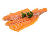 Salmon fillet decorated with parsley — Stock Photo