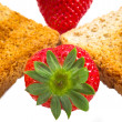 Sweet strawberries jam on toast close up — Stock Photo