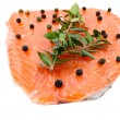 Fresh salmon fillet  with pepper and herbs — Stock Photo