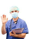 Doctor giving hand — Stock Photo