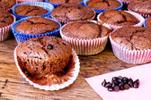 Chocolat muffins with chocolat drops — Stock Photo