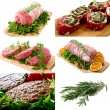 Meats  collage — Stock Photo