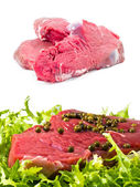 Raw meats with salad and pepper and alone — Stock Photo