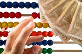Abacus beads with euro, — Stock Photo