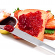 Crispbread and strawberry jam — Stock Photo
