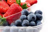 Mezclan de frutas envasado closeup — Foto de Stock