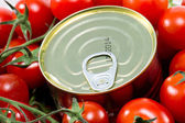 Aluminum tin can and tomatoes — Stock Photo