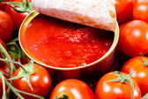 Aluminum tin can and tomato — Stockfoto