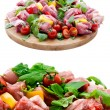 Fresh butcher cut meat assortment garnished on wooden board — Stock Photo #25963149