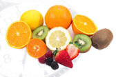 Breakfast time with mixed fruits — Stock Photo
