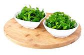 Bowl of fresh green, natural arugula — Stock Photo