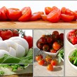 Fresh salad with cherry tomatoes, rucola, mozzarella - collage — Stock Photo #26844319
