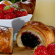 Fruits berries croissant breakfast — Stock Photo