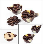 Coffee beans in a chocolate cup — Stock Photo