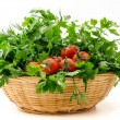 Stock Photo: Basket of parsley and cherry tomatoes