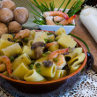 Stock Photo: Ceramic clay pot with Shrimp and Mushroom Pasta