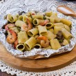 Stock Photo: Shrimp and Mushroom Pasta served in cartoccio