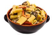 Shrimp and Mushroom Pasta in ceramic clay pot — Photo