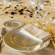 Stock Photo: Fancy table set for wedding dinner