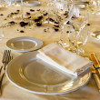 Fancy table set for a wedding dinner — Stock Photo