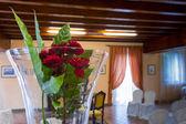 Wedding hall with flower closeup — Stockfoto