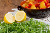 Grren sald with rucola and potatoes — Stock Photo