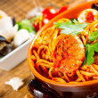 Stock Photo: Spaghetti with mussels and tomato sauce