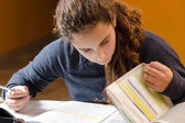 Student girl studying her lessons — Stock Photo