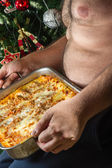 Fat man with food — Stock Photo