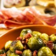 Fried Brussel Sprouts with Ham — Stock Photo