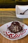 "Italian Dessert called ""panna Cotta"" with chocolate and strawber — Stock Photo"