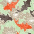 Samless pattern with lotus and carps — 图库矢量图片