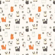 Stock Vector: Funny cartoon cats. Seamless pattern