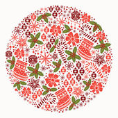 Christmas ball. Round christmas pattern — Stock Vector