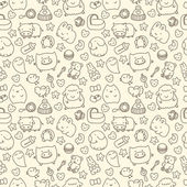 Seamless pattern with cute cartoon animals — Stock Vector
