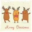 Christmas card with cute cartoon deers — Stock Vector