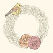 Nest frame with bird and flowers — Vector de stock